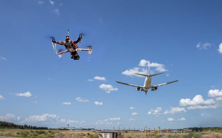 A drone flying near an airport